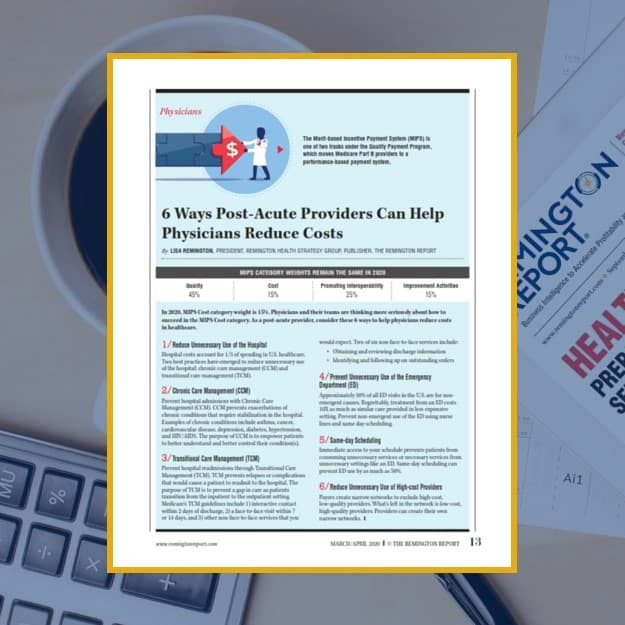 6 Ways Post-Acute Providers Can Help Physicians Reduce Costs